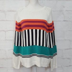 NY Collection Striped Sweater Sz L